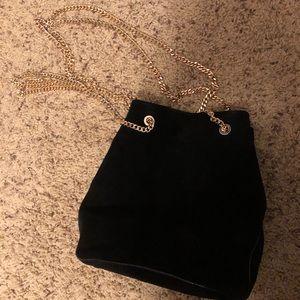 MANGO brand black leather suede chain bag
